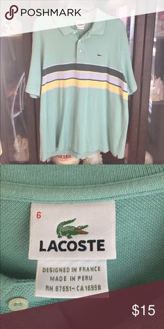 Men's Lacoste Blue Striped Polo Sport Shirt This item has one small muted stain on the front. Can you spot it? Price will still reflect this flaw! Lacoste Shirts Polos