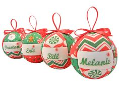 4 Personalized Christmas Ornaments Handmade Set of by CraftCrazy4U