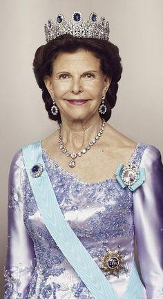 June 13, 2015.. The Royal ladies of Sweden... Queen Silvia of Sweden