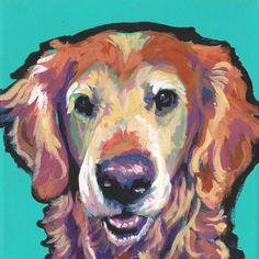 senior Golden Retriever dog portrait print of bright pop art Painting 8x8