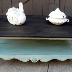SOLD Plank Top Coffee Table, New Distressed Blue Paint and Re-Finished Top from Julies Box for $125 on Square Market