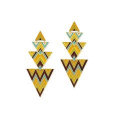 The easiest way to go TRIBAL for summer is to start with LBB!    Pair these 'ZAD Enamel Triangle Earrings with a tan shirt dress for the perfect look!