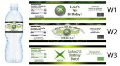 XBOX One ~ Printed Water Bottle Labels ~ Birthday Party Favors Supplies
