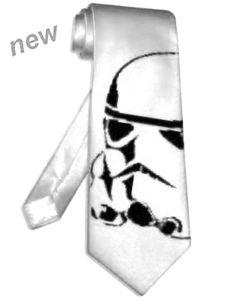 stormtrooper Tie WHITE satin silk star wars helmet necktie NEW