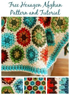 Crochet Edging See joining tutorial. Stitch up a colorful Granny Hexagon Afghan with this free crochet pattern. - Stitch up a colorful Granny Hexagon Afghan with this free crochet pattern. Plaid Au Crochet, Crochet Throw Pattern, Crochet Edging Patterns, Easy Crochet Blanket, Afghan Crochet Patterns, Crochet Motif, Free Crochet, Hexagon Crochet, Ravelry Crochet