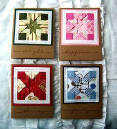 Layered Paper Quilt Cards by Shoregirl Iris Paper Folding, Iris Folding Pattern, Fancy Fold Cards, Folded Cards, Patchwork Cards, Carton Diy, Folded Fabric Ornaments, Paper Quilt, Paper Piecing