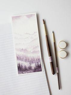 Watercolor Bookmark Forest Bookmark Original Watercolor