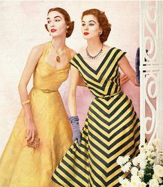 1952 Cherry Nelms (l) and Suzy Parker (r) in dresses of Onondaga silk taffeta from Vogue Patterns