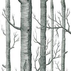 Papier peint forêt blanc WOODS - Cole and Son - Au fil des Couleurs