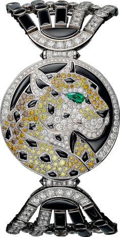 High Jewelry secret hour panther décor watch Small model, rhodiumized 18K white gold, onyx, diamonds
