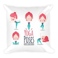 Yoga Poses Body and Mind Pillowcase w/ stuffing