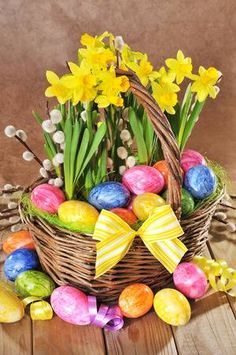 Picture of Easter basket with eggs and narcissus on old weathered wooden board stock photo, images and stock photography. Easter Pictures, Banner Printing, Easter Baskets, Spring Time, Backdrops, Wallpaper, Creative, Projects, Music Files