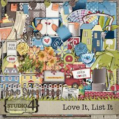 Love It List It - Studio4 Designworks. Full kit, add on, clusters/frames, word art, alpha and additional papers are available at Digital Scrapbooking Studio