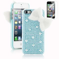 Pandamimi Dexule Fashion Sweety Girls Hand Made 3D Light Blue Full Pearl and White Butterfly Hard Case Cover for iPhone 5 5G with Screen Protector by Pandamimi, http://www.amazon.com/dp/B00A0IXU3G/ref=cm_sw_r_pi_dp_R3NPrb0YCPGVQ