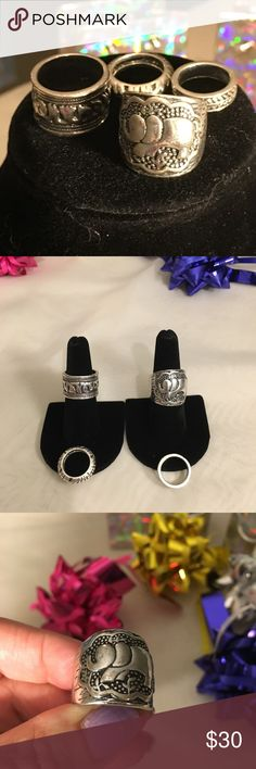 NWOT Set💍4 Silvertoned Carved Boho Elephant Rings NWOT Set of 4 adorable silver toned rings . Sizes vary from  3.5 to 7.5 . Sold as a set . Wear one , wear all💍. Excellent condition 👌 Jewelry Rings