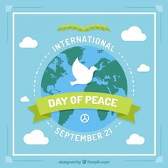 Peace flat design with dove and world in the sky Free Vector