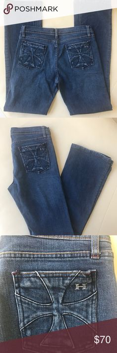 """Habitual Monaco Deep End Bootcut Jeans 💜 Sz 34 Habitual Monaco Deep End Bootcut Jeans 💜 Sz 34. - 78% cotton, 20% lyocell, 2% Lycra. Good condition. Little wear ends ( pictured). Rise is approximately 8"""", waist is approx 15"""", and inseam is approx 31"""". Offers accepted! Habitual Jeans Boot Cut"""