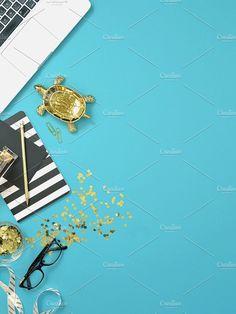 Black gold blue portrait desk photo. Branding Tips