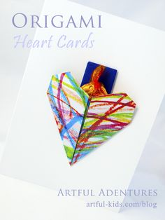 Simple origami valentines cards to make using children's artwork - complete with secret message or added 'treat' http://artful-kids.com/blog/2014/01/24/origami-heart-cards/
