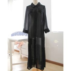 Sheer Chiffon See Through Maxi Shirt Dress Beach Summer Long Sleeve Button Down | eBay