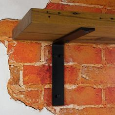 Shelf Bracket No1 Right Angle No Lip No Gusset Heavy Duty Black Steel Timber Shelf Brick Wall