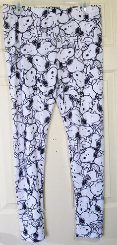 Womens Leggings Peanuts Snoopy Black White Size XL Stack Graphic Elastic Waist #Peanuts