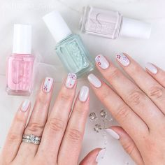 Jennifer Dye on Twitter: Springtime floral mani using @essie between the seats as the base. Soft and pretty  #essiebridal2016