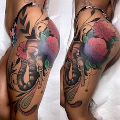 Tattoos For Women On Thigh, Hip Thigh Tattoos, Lower Leg Tattoos, Side Tattoos Women, Black Girls With Tattoos, Sleeve Tattoos For Women, Girl Leg Tattoos, Back Thigh Tattoo, Thigh Sleeve Tattoo