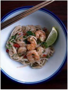 evil chef mom: rice noodles with shrimp and cilantro