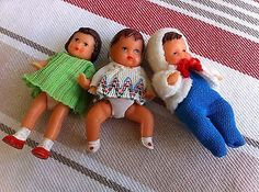 Vintage German Ari Rubber Girl Dollhouse Doll and two babies Near MINT