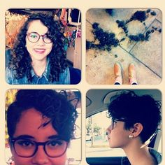 Curly Pixie Cut: before and after Curly Pixie Hairstyles, Curly Pixie Cuts, Short Curly Hair, Short Hair Cuts, Curly Hair Styles, Curly Undercut, Asymmetrical Hairstyles, Cut Her Hair, Hair Color And Cut