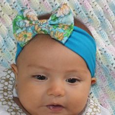 Memorable Aqua Headband with Printed Floral Bow - Headbands - AllBabyGirls - 1