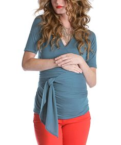 Loving this Slate Blue Bella Maternity Top on #zulily! #zulilyfinds