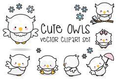 Premium Vector Clipart - Kawaii Owls - Cute Owls Clipart Set - High Quality Vectors - Instant Download - Kawaii Clipart (2.99 USD) by LookLookPrettyPaper