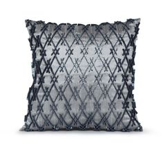 Pure Silk Handmade Bead Grey Pillow Cover Gray by AmoreBeaute