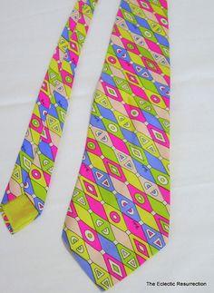 Vintage Emilio Pucci Tie Psychedelic Silk 1960s-1970s Geometric