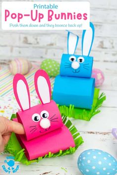 This Pop Up Bunny craft is so much fun for Easter or spring! The cute rabbits sit in their own little grassy field and when you push them down, they pop right back up! An interactive Easter craft for kids. #kidscraftroom #kidscrafts #easter #easterbunny #eastercrafts Kids Wedding Activities, Easter Activities For Kids, Easter Crafts For Kids, Craft Activities, Preschool Crafts, Activity Ideas, Easter Ideas, Bunny Templates, Easter Art
