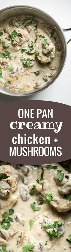 All it takes is 1 pan to make this HEALTHY Creamy Chicken and Mushrooms dish!