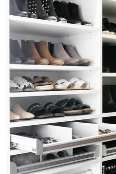 Custom shelving options for all the shoe-lovers out there! Select a classic white finish to highlight your collection and keep your closet looking chic. Closet Storage Systems, Closet System, Closet Organization, Custom Shelving, California Closets, Entryway Storage, Custom Closets, Walk In Closet, Classic White