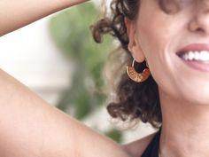 Stripe Fan Earrings Gold Plated Earrings, Silver Hoop Earrings, Statement Earrings, Dangle Earrings, Silver Hoops, 925 Silver, Birthday Gifts For Her, Minimalist Earrings, Plaque