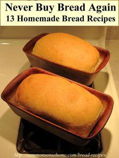 Bread Recipes - Sandwich Bread, Basic Sourdough Bread, Potato Bread using Leftover Mashed Potatoes, Crusty French Bread, Gluten free and sprouted bread and more.  #bread #recipes