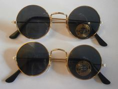 set of 2 sunglasses with round lenses glasses retro hippie goa style 70s new n3