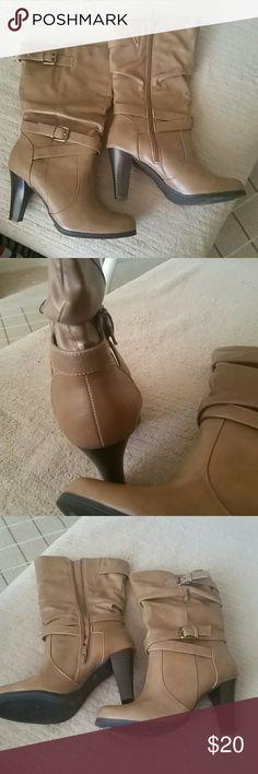 St. John's Bay Amaretto mid calf boots Tan mid calf boots St. John's Bay Shoes Heeled Boots