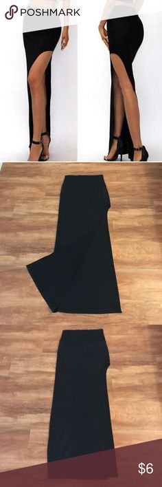 Black Maxi Skirt with High Slit -Size Small Black Bodycon Maxi Skirt with High Slit -Size Small, high waisted, body hugging, figure flattering. Skirts Maxi