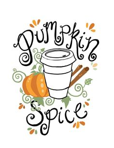 Free Printable Pumpkin Spice Illustration by Fin and Feather Art