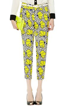#ROMWE Floral Print Yellow Ankle Pants
