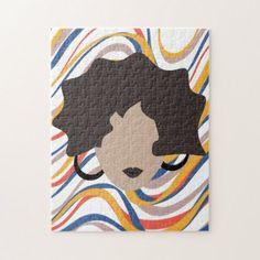 Shop Woman Wavy Black Hair Stylist Beauty Face Jigsaw Puzzle created by DreamBigDigital. Brown Hair, Black Hair, Funky Hairstyles, Formal Hairstyles, Wedding Hairstyles, Wavy Hair Men, Wedding Men, Hair Wedding, Animal Skulls
