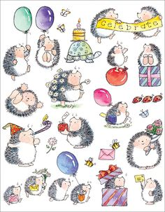 Penny Black Sticker Sheet - Bouncing With Joy  - Hedgehogs
