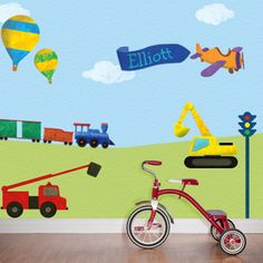 Transportation Wall Stickers Decal - FREE PERSONALIZATION - Idea for Luke's room