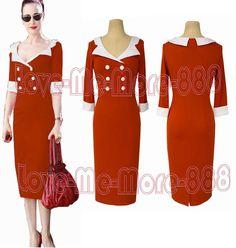 Womens Elegant Celebrity Wear To Work Party Pencil Midi Dress Bodycon Orange (S)